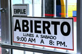 Picture of business opening hours sign in Ciudad Obregon
